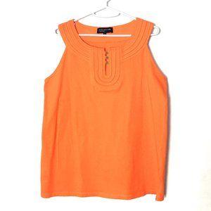 Jones NY Sleeveless Tank Top Orange Tunic U-Neck L